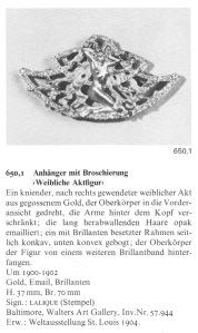 Barten Sigrid, René Lalique, Schmuck und objets d'art 1980-1910, ed Prestel, 1989, p.321
