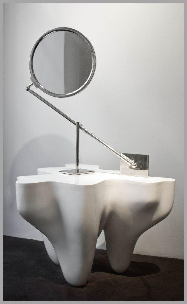 Miroir double face à contrepoids - Vers 1970