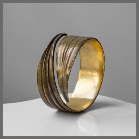 Bracelet 'Jonc' - Bronze doré et patine