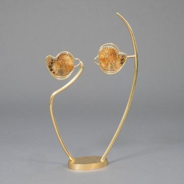 """Claude de Muzac - """"Regard"""" sculpture en bronze et ammonites"""