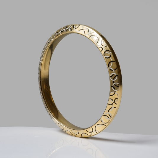 Bracelet jonc en or et émail - vers 1920