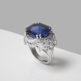 Cartier - Bague en platine, diamants et saphir de Ceylan non chauffé de 22,98 carats - vers 1960