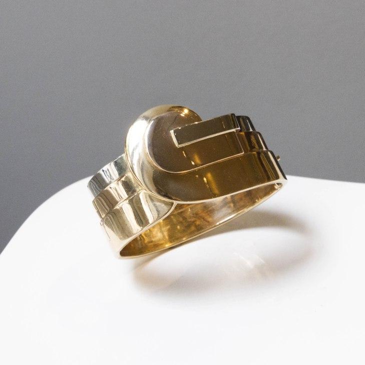 Templier - Bracelet clip en or trois tons - vers 1925
