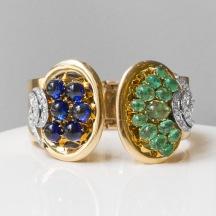 René Boivin - Bracelet rigide double clips en or, diamants, émeraudes et pierres bleues - vers 1940