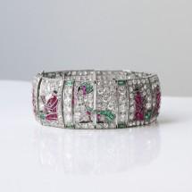 "Bracelet ""egyptomania"", platine, diamants, rubis, émeraudes et saphirs - 1920 / 1930"