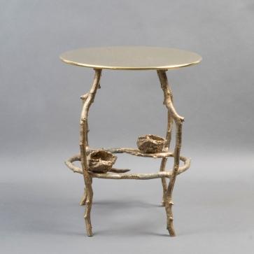 "Claude de Muzac - Gueridon ""Nid de mésange"" en bronze"