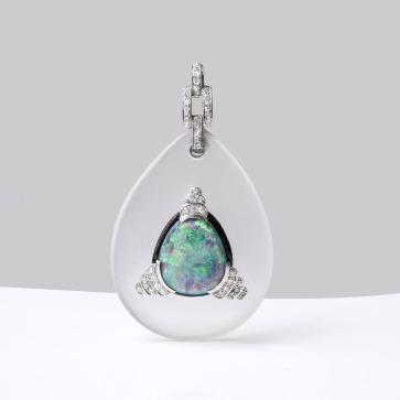 Pendant en cristal, platine, opale, émail et diamants - 1910 / 1920