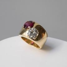 Suzanne Belperron - Bague en or, diamant et tourmaline